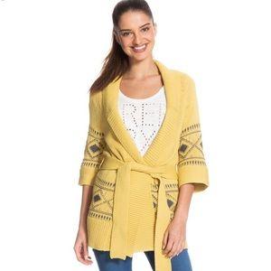 ROXY Yellow/ Mustard Long Belted Cardigan/ Sweater